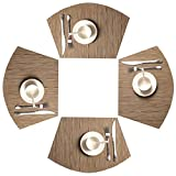 SHACOS Round Table Placemats Set of 4 Wedge Placemats Heat Resistant Round Table Mats Wipe Clean (4, Bamboo Tan)