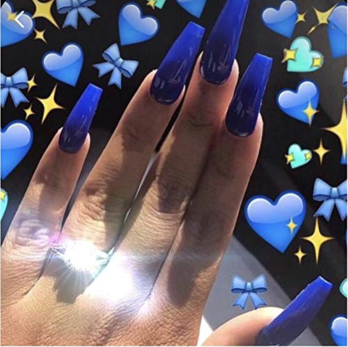 Cathercing 24 Pcs Ballerina Pure Color Smooth Coffin Nails Full Cover False Nails Medium Beauty Nails Square Fake Gel Tips Art Nail Stickers for Women Girls Gift on Halloween Party (dark blue)