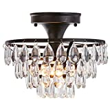 Tayanuc 10' Black Crystal Ceiling Light Fixture Semi Flush Mount Small Chandelier, Antique Ceiling Lighting Fixture for Bedroom Living Room Hallway