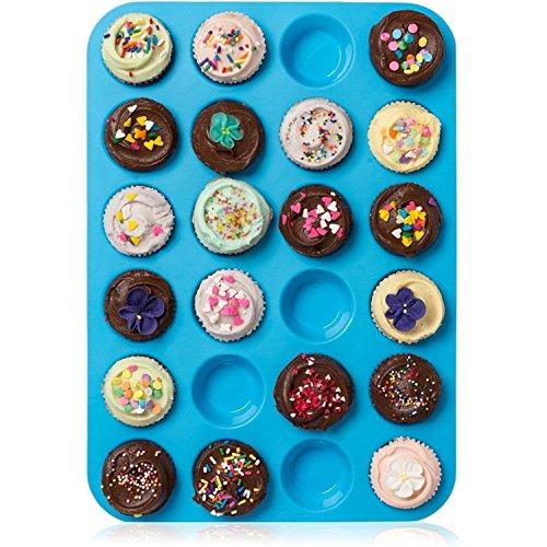 HelpCuisine Teglia Muffin_Stampo Antiaderente per 24 Muffin/Teglia per Cupcake/dolcetti Realizzata in Silicone Alimentare di Alta qualit, Antiaderente e Privo di BPA, 24 stampini, Colore Blu