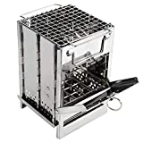 REDCAMP Wood Burning Camp Stove Folding Stainless Steel 304# Grill, Small Portable Backpacking Stove for Hiking Camping Survival BBQ