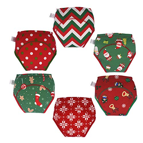 Skhls Unisex Baby Toddler Christmas Style Thick Cotton Absorbent Potty Training Underwear (6pcs 2T, Red)
