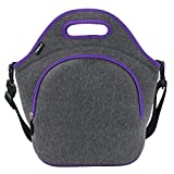 Hibala Neoprene Lunch Tote Bag For Women&Men-With Zipper-Keeping Food Cold/Warm 4 Hours-12.5' x 12.5' x 6.5' inch-Outdoor Work Travel Picnic Lunch Handbags (Purple)
