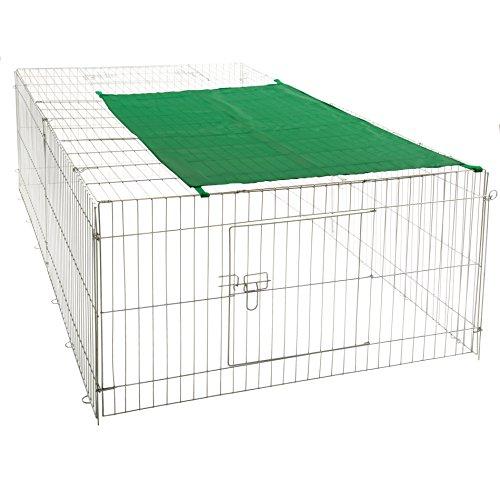 ESTEXO Nager - Freilaufgehege Stahl verzinkt, Hasen, Auslauf, Freigehege, Kaninchen, Nager, Sonnenschutz