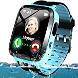 Kids Smart Phone Watch Waterproof GPS/LBS Tracker for 3-12 Year Girls Boys Two-Way Call SOS Micro Chat Camera Camera Anti-Lost Math Game Swim Camp Electronic Learning Toy Holiday Birthday Gifts