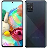 Samsung Galaxy A71 (128GB, 6GB) 6.7', 64MP Quad Camera, 25W Fast Charger, Android 10, GSM Unlocked US + Global 4G LTE International Model A715F/DS (128GB + 64GB SD + Case Bundle, Prism Crush Black)