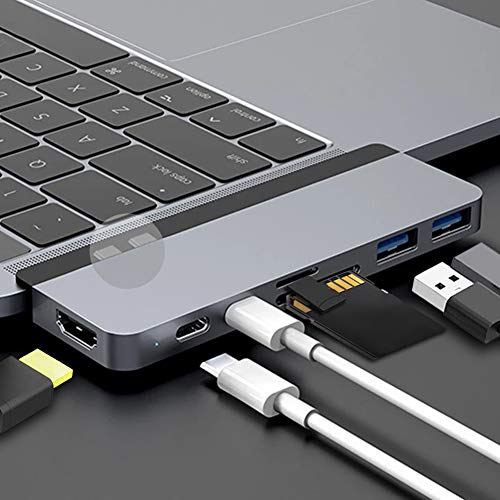 HyperDrive 7 in 2 Duo Thunderbolt 3.0 USB C hub Compatible with The Latest 13 inch & 15 inch USB C...
