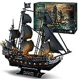 CubicFun Puzzle 3D LED 68 CM Black Pearl - Maquette de Bateau de la Queen Anne's...