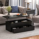 """DiDuGo Lift Top Coffee Table Central Table with Hidden Compartment & 2 Drawers, Modern Wood Dining Table for Living Room Reception Room Black (45.3""""L x 19.7""""W x 15.7""""H)"""