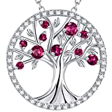 GinoMay Mothers Day Jewellery Mum Birthday Gifts Her Tree of Life Necklace Sterling Silver Ruby July Birthstone Jewellery for Women