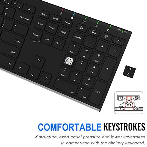 Arteck 2.4G Wireless Keyboard Stainless Steel Ultra Slim Full Size Keyboard with Numeric Keypad for Computer/Desktop/PC/Laptop/Surface/Smart TV and Windows 10/8/ 7 Built in Rechargeable Battery 13