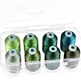New brothread - 15 Options - 8 Snap Spools of 1000m Each Polyester Embroidery Machine Thread with Clear Plastic Storage Box for Embroidery & Quilting - Different Green
