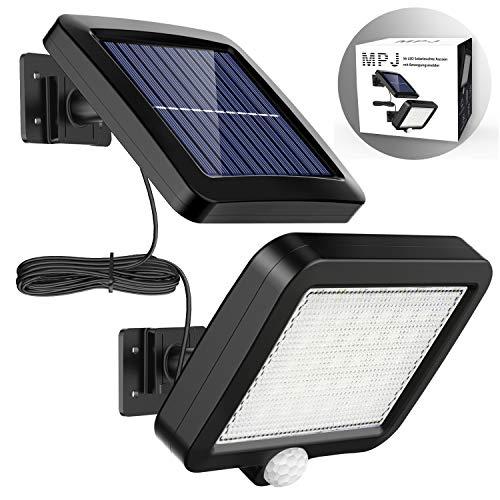 Solarlampen für Außen, MPJ 56 LED Solarleuchte Aussen mit Bewegungsmelder, IP65 Wasserdichte, 120°Beleuchtungswinkel, Solar Wandleuchte für Garten mit 16.5ft Kabel