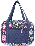 DIWI Quilted Bible Cover Large Sizes 10 X 7 X 2.75 Inches Bible Tote Good Book Case (L, C2 Navy Flowers)