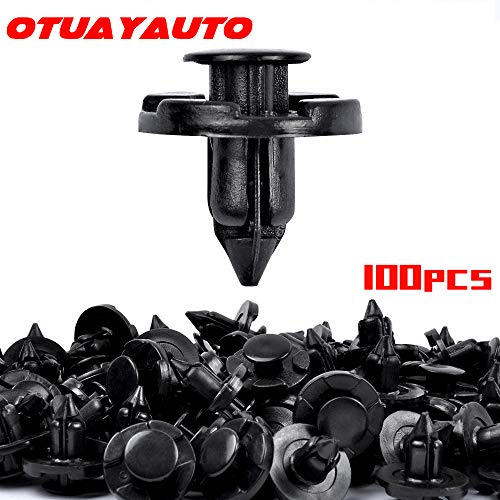 OTUAYAUTO 100PCS Push Type Retainer Bumper Clips, 8mm Fender Liner Clips Replacement for Nissan, Infiniti - Trim Rivet Body Fasteners Replace OEM: 01553-09321