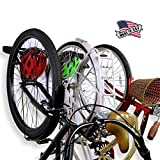 Koova Wall Mount Bike Storage Rack Garage Hanger for 3 Bicycles + Helmets | Fits All Bikes Even Large Cruisers/Big Tire Mountain Bikes | Heavy Duty Powder Coated Steel | Made in USA (3 Bike Rack)
