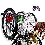 Koova Wall Mount Bike Storage Rack Garage Hanger for 3 Bicycles + Helmets   Fits All Bikes Even Large Cruisers/Big Tire Mountain Bikes   Heavy Duty Powder Coated Steel   Made in USA (3 Bike Rack)