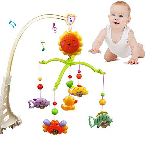 Campana musical para cuna o campana de bebé con diseño de dibujos animados para colgar, caja de música con ventana, juguetes musicales para bebé