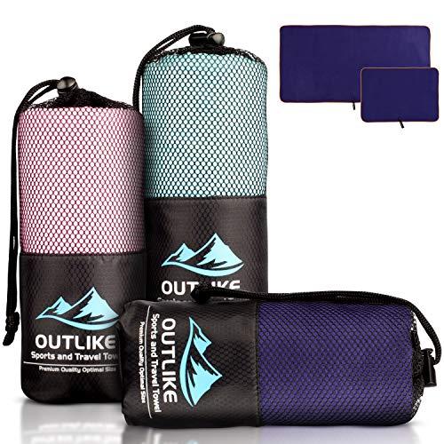 Outlike Lot de 2 serviettes de voyage en microfibre – Légères, à...