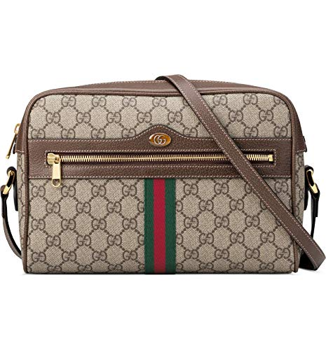 """51kgZHsHl0L 10 ½""""W x 7""""H x 3""""D. (Interior capacity: small.) 15"""" – 19"""" convertible strap drop. 1.0 lb. Heritage details including the house web and a low-key double-G logo highlight the classic GG Supreme canvas of this just-right shoulder bag trimmed in leather. Top zip closure Adjustable shoulder strap Exterior zip pocket Interior zip and wall pockets Canvas with leather trim Made in Italy"""