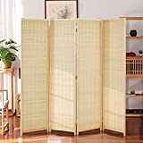 oneinmil Bamboo Room Divider, Semi-Private Folding Portable Partition Screen with Two-Way Hinge,...