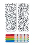 Kid's Crayola Color-In Socks - Includes 1 Pair Of Socks And 4 Fabric Markers by Living Royal (Monster Party)