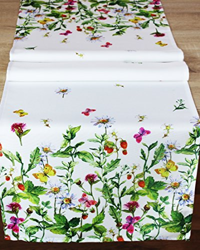 Kamaca Serie WIESENBLUMEN UND Schmetterlinge hochwertiges Druck-Motiv mit Blumen EIN Eyecatcher in Frühling Sommer (Tischläufer 40x140)