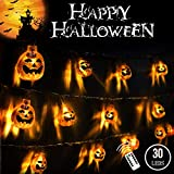 3D Halloween Lights Orange Pumpkin 20 Ft 30 LED String Lights Waterproof Dimmable 8 Modes with Remote & Timer Battery Operated Jack-O-Lantern Halloween Party Decoration for Indoor Outdoor IP65