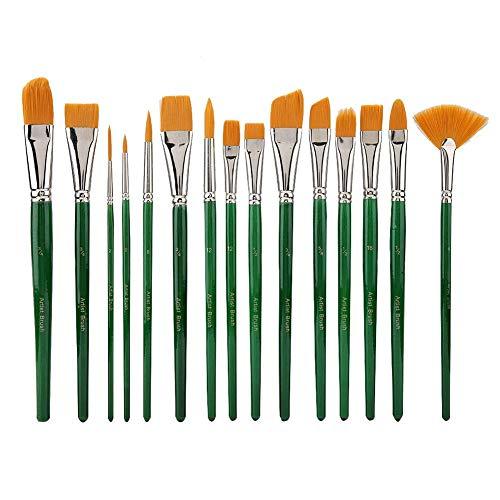 15 Unids/Set Pinceles de Pintura Gouache Pluma Pelo de Nylon Acuarela Pincel Arte Artesanía Suministros Para Artistas Estudiantes