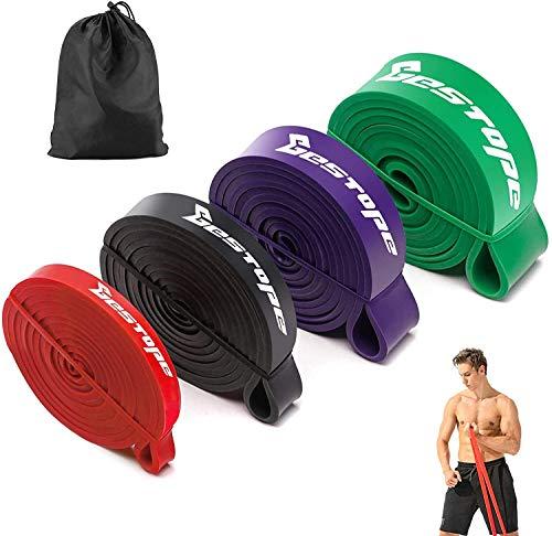 BESTOPE Bande Elastiche Fitness,Fasce Elastiche di Resistenza con 4 Livelli di Resistenza,Fasce Elastiche Fitness per Yoga,Pilates,Lunges,Stretching,Allenamento di Forza