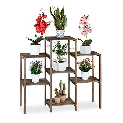 Relaxdays Blumentreppe Holz, Shabby, Innenbereich, Wohnzimmer, Pflanzenregal stehend, 7 Ablagen, HBT 86x95x29 cm, braun, L