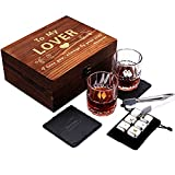 'To My Lover' Whiskey Glass Gift Set for Men & Women - Valentines Day Best Gifts for Husband, Wife, Boyfriend, Girlfriend, Birthday, Wedding Anniversary, Festival, Christmas, New Year (Wooden Box)
