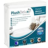 PlushDeluxe Premium Zippered Mattress Encasement, Waterproof, Bed Bug & Dust Mite Proof 6-Sided Protector Cover, Hypoallergenic Cotton Terry Surface (Fits 12-15 Inches H) King, 10-Year Warranty