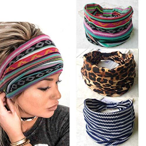 Yean - Fascia per capelli con motivo leopardato a turbante, fascia elastica per capelli a strisce, fascia per capelli...