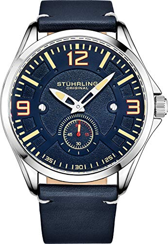 Stuhrling Original Aviator Herrenuhr - Strukturierte analoge Zifferblattuhr in Schwarz, Zifferblatt in Sekundenschnelle, lässiges genähtes Lederband, 3934 Mens Watches Collection (Blue)