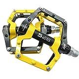 CMUNDLJQ Mountain Bike Pedals Aluminum Alloy Lightweight Cleats Grip 9/16' Platform Pedals for MTB BMX Road Bicycle (Yellow)