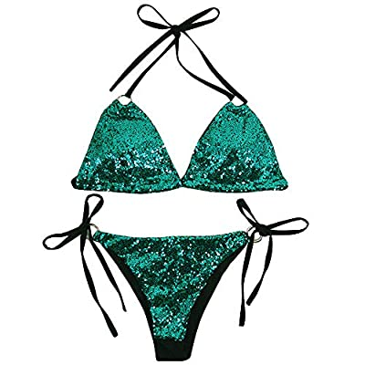 Adopts high quality sequin and polyester, it is durable, sexy and trendy. Suitable for swimming, surfing or beach wear. Please check the measurement chart carefully before you buy the item. Please choose suitable one and enjoy this shopping. Cross ba...