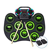 Portable Electronic Drum Set,FVEREY Bluetooth Roll Up Electric Drum Kit,Rechargeable Midi Drum Practice Pad with Built-in Speakers,Headphone Jack,Foot Pedals and Drumsticks,Toy Drum Gift for Kids