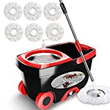 Spin Mop Bucket Floor Cleaning - Tsmine Mop and Bucket with Wringer Set Commercial Spinning Mopping Bucket Cleaning Supplies with 6 Replacement Refills,61' Extended Handle for Household Hardwood Floor