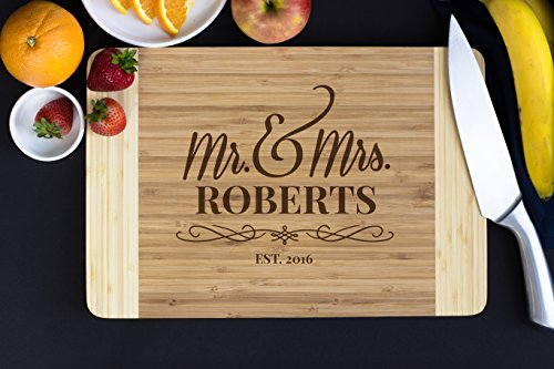 Personalized Bamboo Cutting Board- Flourish Script, 15' x...