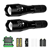 Tactical Flashlight 2 Pack, WdtPro High Lumens XML-T6 LED Flashlights - Zoomable, 5 Modes, Waterproof Handheld Flashlight with Rechargeable 18650 Lithium Ion Battery & Charger