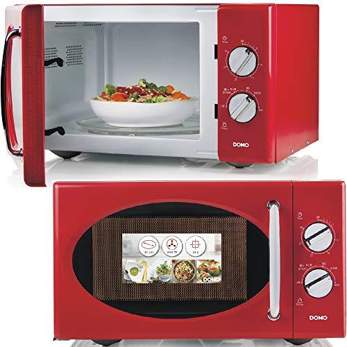 Mikrowelle mit Auftaufunktion und Glasdrehteller, 6 starke Leistungsstufen, 25Liter Fasungsvermögen, Farbe: rot