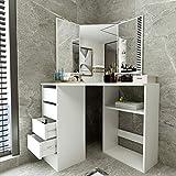 [US Stock] Corner Design Dressing Table Vanity Mirror Set - Modern Bedroom Storage Cabinet Makeup Table with 4 Drawers- Bathroom Vanity for Corner Small Space (White)