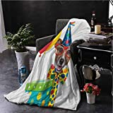 hengshu Kids Birthday Flannel Fleece Throw Blanket Waiter Server Party Dog with Hat Cone Cupcake Balloons Celebration Boxes for Living Room Bed or Couch Blanket W57 x L74 Inch Multicolor