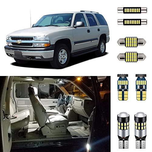AUTOGINE 20 Piece White Interior LED Lights Kit for Chevrolet Chevy Tahoe/Suburban or GMC Yukon 2000 2001 2002 2003 2004 2005 2006 Super Bright 6000K Interior LED Light Bulbs Package + Install Tool