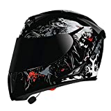 Motorcycle Bluetooth Helmets,Modular Dual Visors Full Face Helmets,DOT/ECE Approved Helmet,Built-in Mp3 FM Radio Integrated Intercom Communication System N,XXL
