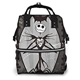 Mochila para pañales – Pesadilla antes de Navidad Jack y Sally esqueleto multifunción impermeable mochila de viaje de maternidad bebé bolsas cambiadoras