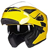 ILM Motorcycle Dual Visor Flip up Modular Full Face Helmet DOT 6 Colors (S, YELLOW)