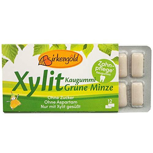 Birkengold Xylit Kaugummi Grüne Minze | Zahnpflege-Kaugummi | zuckerfrei | 70 {6f8a9d8a4ca4fdf4d72371cd333bb78817b1ab53e7b09246284c3909d9f5d7cb} Xylit | vegan | ohne Titandioxid