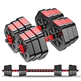 Weights Dumbbells Set-Adjustable Dumbbells for Men and Women-Weights Dumbbell Set for Lifting-Barbell Weight Equipment Set with Connecting Rod-Pair of 44lbs (Black/ Red with 20'' Connecting Rod)
